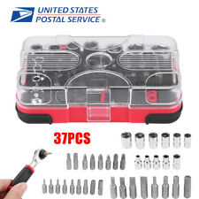 37Pcs Hand Torque Ratchet Wrench Tool Set Metric Socket Bit Small Tools Kit Box