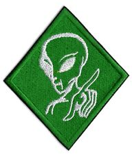 ALIEN PATCH UFO ALIEN WARNING EMBROIDERED IRON ON TO SEW ON ALIEN WARNING BADGE