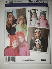 NEW Simplicity Pattern 1953 Misses'/Child's Matching Animal Hats 3 Sizes Each