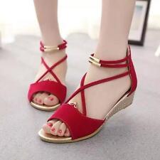 2016 Women Summer Casual Flip Flops Flat Shoes Peep Toe Ankle Strap Sandals S1