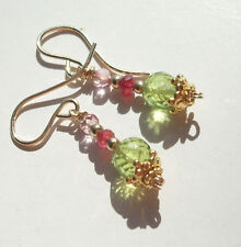 CeS Ohrringe Peridot, roter Spinell und pink, rosa Topas, Topaz in Gold