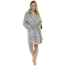 Ladies Snow Leopard Flannel Fleece Hooded Bath Robe/Dressing Gown Sizes 8-22