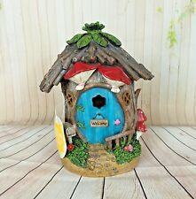Solar Fairy House Enchanted Garden Knome Light up Tree House Red Mushrooms 9""