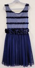 BONNIE JEAN Girl's Dark Blue Flower Tulle Dress | Size 8