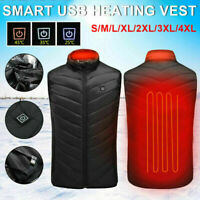 USB Electric Heated Warm Vest Men Women Thermal Jacket Rechargeable Heating Coat