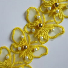 1 yard Butterfly Pearl Lace Edge Trim Wedding Ribbon Embroidered Applique Sewing