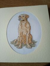 completed cross stitch card Labrador