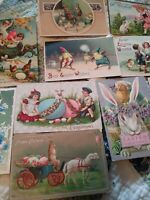 LOT OF 12 - Early 1900s EASTER POSTCARDS - some embossed / bunnies / ducks etc