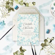 Baby Blue Leaf Watercolor Watercolour Wedding Day Invitation - Sample