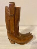 Vintage Hand Carved Wooden Wood Cowboy Boot Figurine ~ SIGNED R.E. HALL 1988