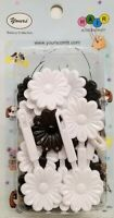 Yours Barrettes Hair BLACK WHITE Big Flowers Ties Girls Pin Clips Braid 20 Pcs