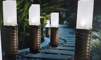 LED Solarleuchte Weg- Leuchte Rattan 35cm mit Erdspieß Gartenlicht Lichtsensor