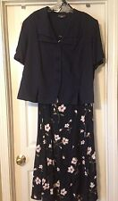 Womans Plus Size 22W Navy Blue Jacket With Matching Floral Sleeveless Dress