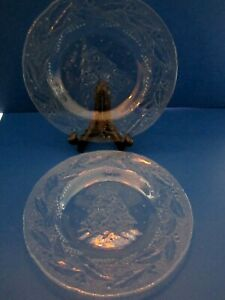 Vtg Arcoroc Holly Leaves & Christmas Tree Clear Glass Salad Lunch Plate Set of 5