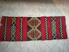 GREECE CRETE VINTAGE 1970,s HANDWOVEN TRADITIONAL WOOL RUG 43.3''X15.7'' USED