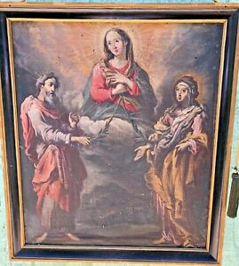 SUPERB LARGE DOUBLE SIDED BAROQUE OIL RELIGIOUS PAINTING JESUS MARY JOSEPH