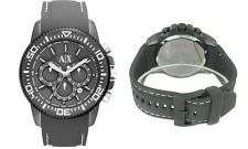 NEW ARMANI EXCHANGE GRAY TONE,GRAY SILICONE BAND WITH STITCHES WATCH-AX1202