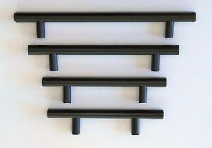 KITCHEN CABINET DRAWER PULL CUPBOARD HANDLES RAIL T BAR - BLACK STAINLESS STEEL
