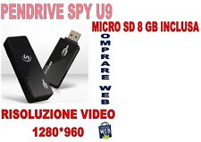 PENDRIVE SPIA U9 +MICRO SD 8GB NASCOSTA 1280x960 PEN USB VIDEO SENSORE MOVIMENTO