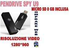 PENDRIVE SPIA U9 +MICRO SD 8GB NASCOSTA 1280x960 PEN USB VIDEO SENSORE MOVIMENTO