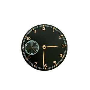 Black+Gold 37mm Watch Dial With Hands For ETA 6497 ST3600 Watch Movement