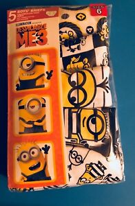Despicable Me 3 Boys' Black/White/Yellow 5 Pack Underwear Size 4, 6