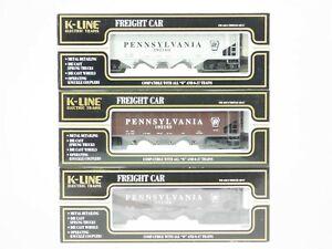 O Gauge 3-Rail K-Line K623-1894A Die Cast PRR Pennsylvania 4-Bay Hopper 3-Pack