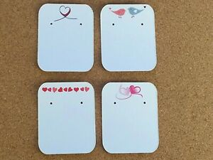 10/50/100  Earring Display Cards Hearts Gift Jewellery Studs White - Valentines