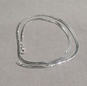 925 Sterling Silber Damen Halskette Collier Panzerkette flach gedrückt - 42 cm