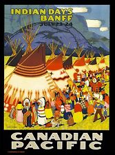Indian Days Banff Canada Canadian Pacific Vintage Travel Advertisement Poster