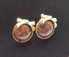 Brown Button with Gold Tone Bows  Earrings