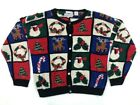 Westbound Womens Ugly Christmas Cardigan Sweater Black Reindeer Long Sleeve XL