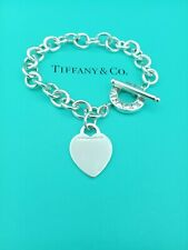 """Genuine Tiffany & Co Silver Heart Tag Toggle Bracelet 8.25"""" Good Condition"""