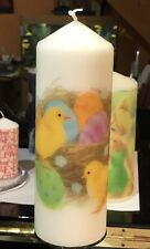 CHICKS AND EGGS DESIGN HAND DECORATED SWEET VANILLA SCENT PILLAR CANDLE 21x7cm