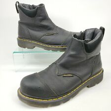 Dr Martens Industrial Womens 8 M Steel Toe Safety Boots Shoes Black Side Zip Doc