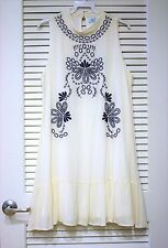 cream/ blue floral embro slevless dress M w/ anthropologie earrings