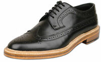 Mens New Black Full Leather Lace Up American Brogue Shoes Size 6 7 8 9 10 11 12