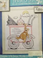 Tobin Girl Baby Buggy Birth Sampler Record Cross Stitch Kit w/ Teddy Bear