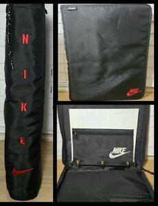 Vtg 1995 NIKE MEAD 3-Ring Binder Trapper Keeper Portfolio Embroidered Black/Red