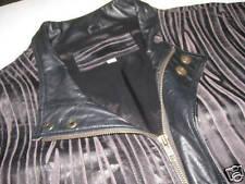 Mens Black Gray Leather Jacket Large