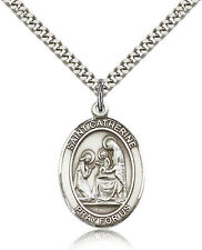 """Saint Catherine Of Siena Medal For Men - .925 Sterling Silver Necklace On 24""""..."""