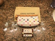Authentic Louis Vuitton White Multicolor Murakami Pochette & Coin purse