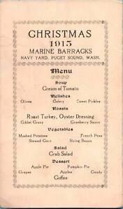 [22511] Christmas 1915 Marine Barracks Menu -Puget Sound WA