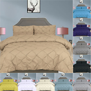 Pintuck Duvet Cover 400TC Soft Egyptian Cotton Bedding Sets Duvet Covers UK Size