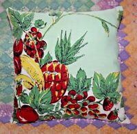 Vintage Fruit Pineapple Banana Farmhouse Mid Century Tablecloth Throw Pillow