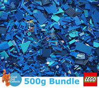 Genuine Lego 500g / 0.5kg Bundle of Mixed Blue Bricks Joblot + Free Minifigure