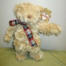 Vintage GUND Bear Wuzzy Plush Style 2021 w/ Tags Plaid Ribbon