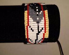 Beaded Native American Regalia Iraq service ribbon Feather Veteran bracelet