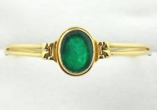 Colombian Emerald Cabochon Oval shape Bangle Bracelet 7.89 CTW 18K Gold Muzo Min
