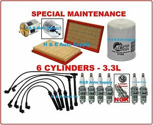 96-04 QX4 FRONTIER PATHFINDER XTERRA 3.3L TUNE UP KITS: PLUGS WIRE SET & FILTERS